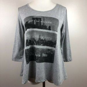 New York City Graphic Top S High Low 3/4 Tee Shirt